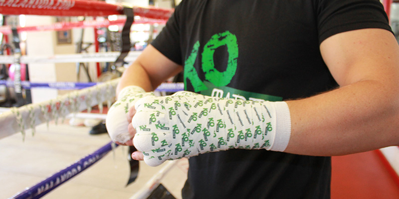 KO Tape in use in a boxing gym
